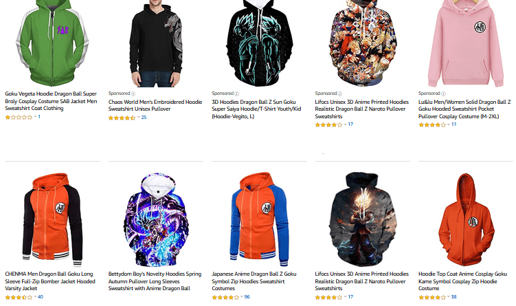 amazon sudaderas dragon ball
